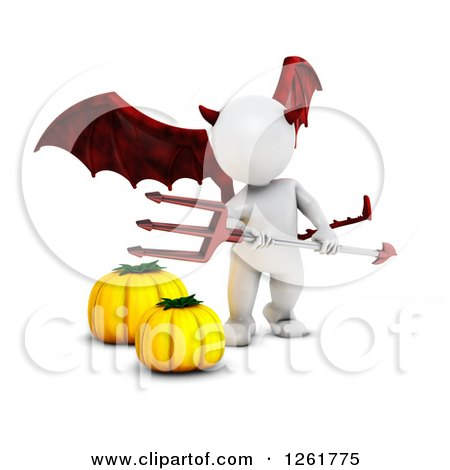 Clipart of a 3d White Halloween Devil with Pumpkins - Royalty Free Illustration by KJ Pargeter