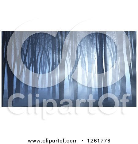 Clipart of a 3d Dark Forest with Blue Light Filtering in Through Trees - Royalty Free Illustration by KJ Pargeter
