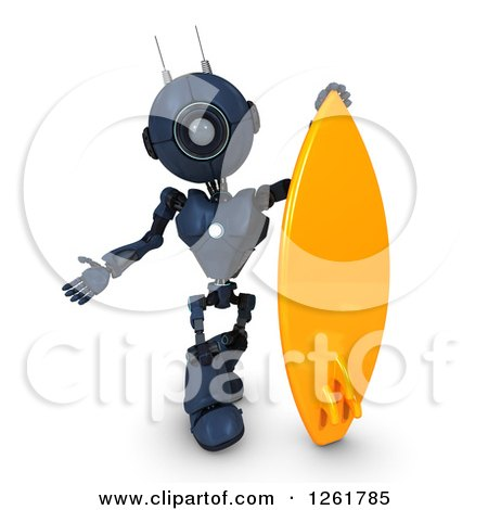 Clipart of a 3d Blue Android Robot with a Giant Surfboard - Royalty Free Illustration by KJ Pargeter