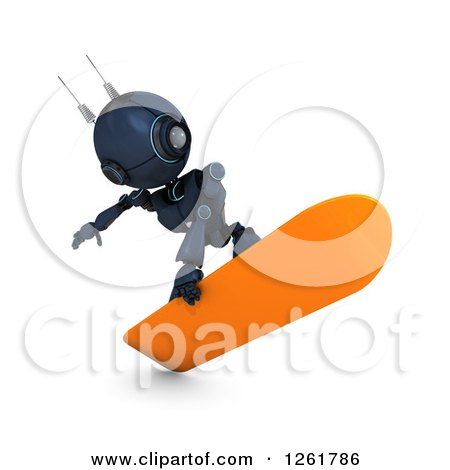 Clipart of a 3d Blue Android Robot Snowboarding - Royalty Free Illustration by KJ Pargeter