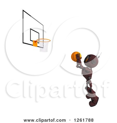 Clipart of a 3d Red Android Robot Playing Basketball - Royalty Free Illustration by KJ Pargeter