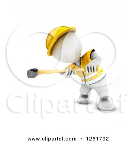 Clipart of a 3d White Man Construction Worker Swinging a Sledgehammer - Royalty Free Illustration by KJ Pargeter