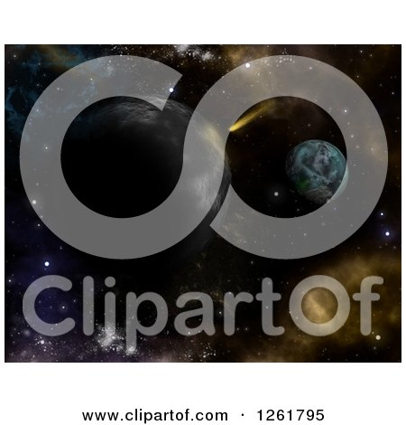 Clipart of a 3d Shooting Star and Planets Background - Royalty Free Illustration by KJ Pargeter