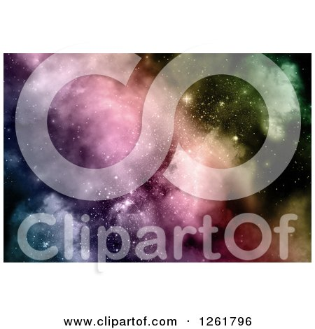 of a Colorful Nebula and Starry Sky Background - Royalty Free