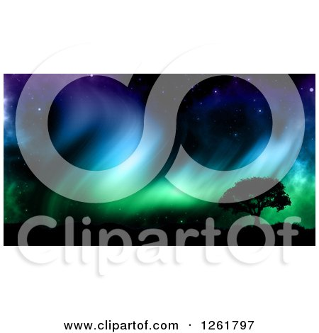 Clipart of a 3d Silhouetted Tree Against Northern Lights - Royalty Free Illustration by KJ Pargeter