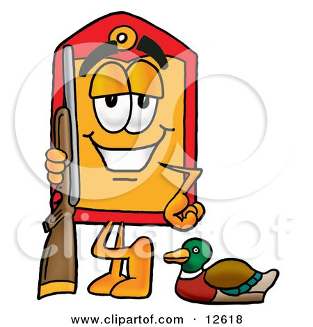 Clipart Picture of a Price Tag Mascot Cartoon Character Duck Hunting, Standing With a Rifle and Duck by Toons4Biz