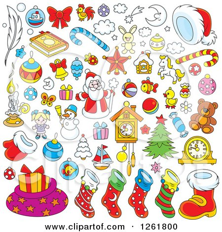 Clipart of Christmas Items - Royalty Free Vector Illustration by Alex Bannykh