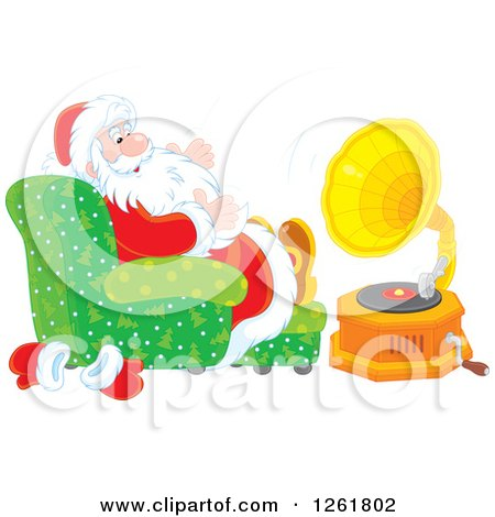 Clipart of Santa Claus Sitting in a Chair and Listening to Music - Royalty Free Vector Illustration by Alex Bannykh