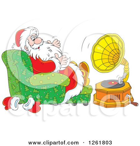 Clipart of Santa Sitting in a Chair and Listening to Music - Royalty Free Vector Illustration by Alex Bannykh