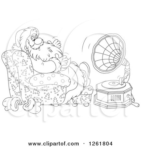 Clipart of Black and White Santa Claus Sitting in a Chair and Listening to Music - Royalty Free Vector Illustration by Alex Bannykh