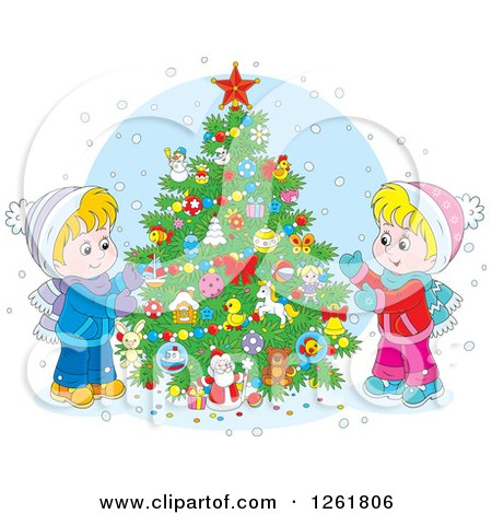 Clipart of Happy Caucasian Children Decorating an Outdoor Christmas Tree in the Snow - Royalty Free Vector Illustration by Alex Bannykh