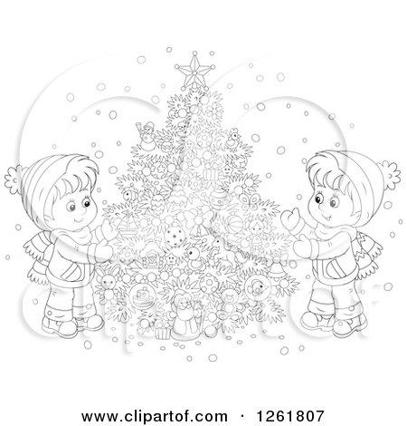 Clipart of Black and White Happy Children Decorating an Outdoor Christmas Tree in the Snow - Royalty Free Vector Illustration by Alex Bannykh