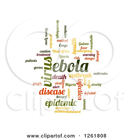 Clipart of a Colorful Ebola Virus Word Tag Collage On White - Royalty Free Vector Illustration by oboy
