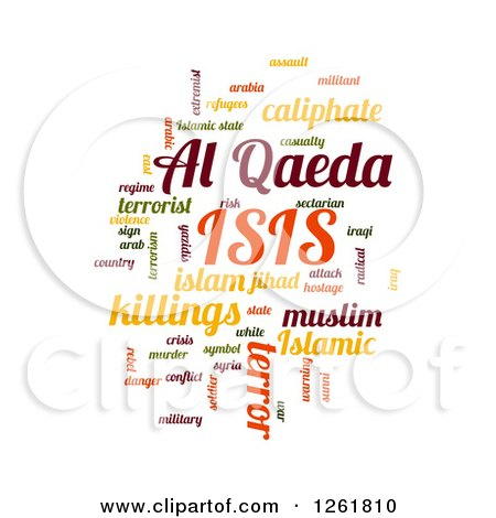 Clipart of a Colorful ISIS and Al Qaeda Word Tag Collage Om White - Royalty Free Vector Illustration by oboy
