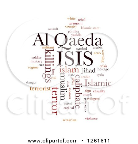 Clipart of an ISIS and Al Qaeda Word Tag Collage On White - Royalty Free Vector Illustration by oboy