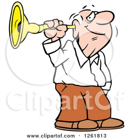 Clipart of a Happy Senior White Man Listening Though an Ear Horn - Royalty Free Vector Illustration by Johnny Sajem