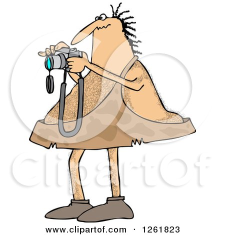 Clipart of a Hairy Caveman Taking Pictures - Royalty Free Vector Illustration by djart