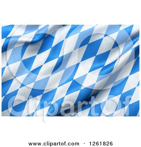 Clipart of a 3d Rippling Bavaria Flag - Royalty Free Illustration by stockillustrations