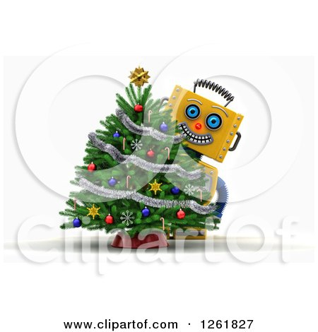 Clipart of a 3d Happy Yellow Robot Smiling Around a Christmas Tree, over White - Royalty Free Illustration by stockillustrations