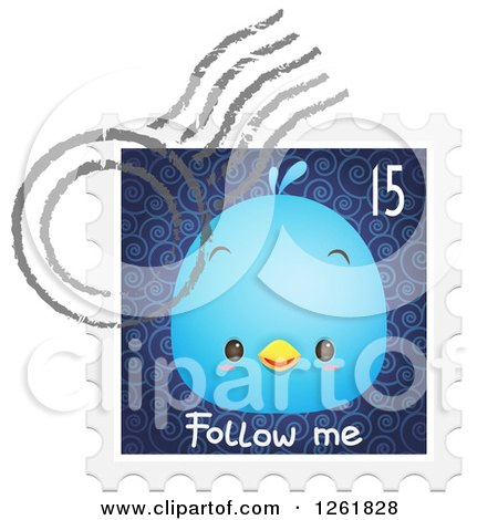 Clipart of a Postmark over a Bluebird on a Follow Me Stamp - Royalty Free Vector Illustration by Qiun