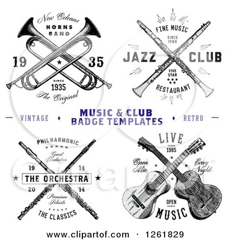 Clipart of Vintage Crossed Musical Instrument Designs with Sample Text - Royalty Free Vector Illustration by BestVector
