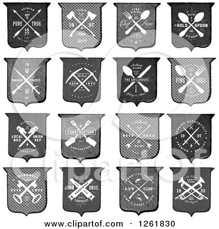 Clipart of Vintage Shields with Crossed Tools and Sample Text - Royalty Free Vector Illustration by BestVector