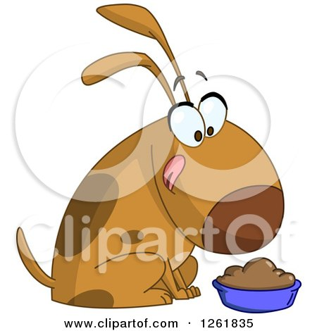 Clipart of a Cartoon Happy Dog Licking His Chops over a Bowl of Food - Royalty Free Vector Illustration by yayayoyo