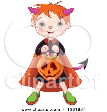 Clipart of a Cute Red Haired Boy Trick or Treating As a Devil on Halloween - Royalty Free Vector Illustration by Pushkin