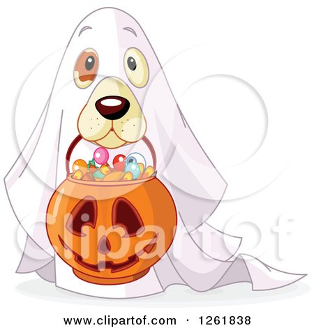 Clipart of a Cute Dog Trick or Treating As a Ghost on Halloween - Royalty Free Vector Illustration by Pushkin