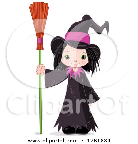Clipart of a Cute Halloween Witch Girl Standing with a Broom - Royalty Free Vector Illustration by Pushkin