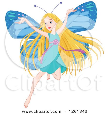 Clipart of a Happy Blond Female Fairy with Blue Butterfly Wings - Royalty Free Vector Illustration by Pushkin