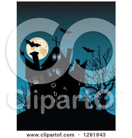 Clipart of a Full Moon with Vampire Bats and a Silhouetted Haunted House - Royalty Free Vector Illustration by Pushkin