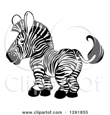 Clipart of a Cute Happy Black and White Zebra Looking Back - Royalty Free Vector Illustration by AtStockIllustration