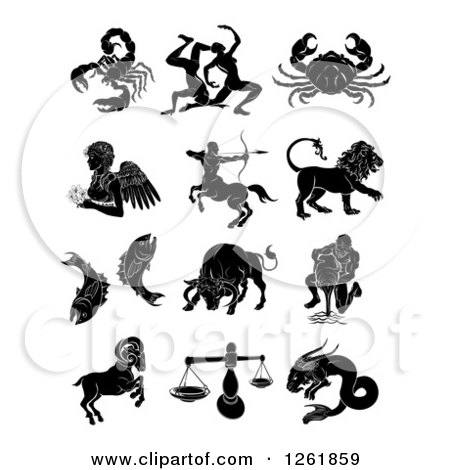 Clipart of a Black and White Astrology Zodiac Animals and Symbols - Royalty Free Vector Illustration by AtStockIllustration