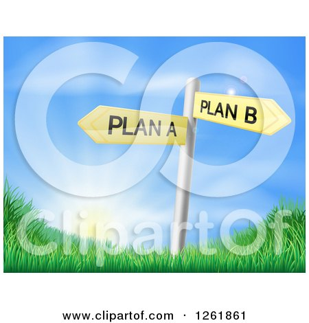 Clipart of Plan a or Plan B Decision Signs over Hills and a Sunrise - Royalty Free Vector Illustration by AtStockIllustration