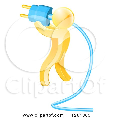 Clipart of a 3d Gold Man Holding a Giant Plug - Royalty Free Vector Illustration by AtStockIllustration