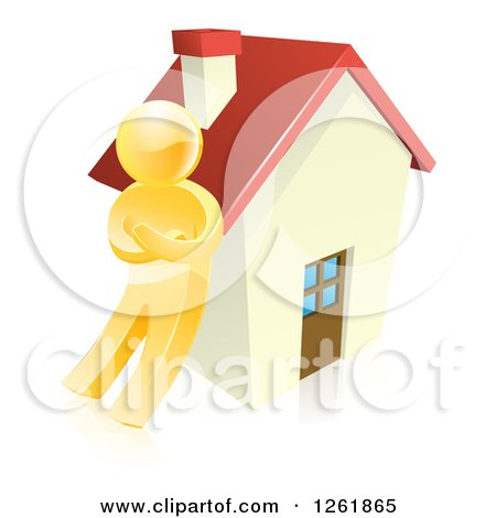 Clipart of a 3d Gold Man Leaning Against a House - Royalty Free Vector Illustration by AtStockIllustration