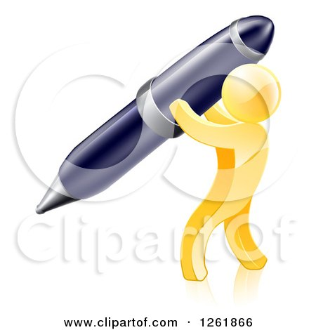 Clipart of a 3d Gold Man Writing with a Giant Pen - Royalty Free Vector Illustration by AtStockIllustration