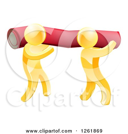 Clipart of 3d Gold Carpet Installers Carrying a Roll - Royalty Free Vector Illustration by AtStockIllustration