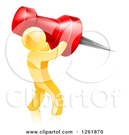 Clipart of a 3d Gold Man Carrying a Giant Red Pin - Royalty Free Vector Illustration by AtStockIllustration