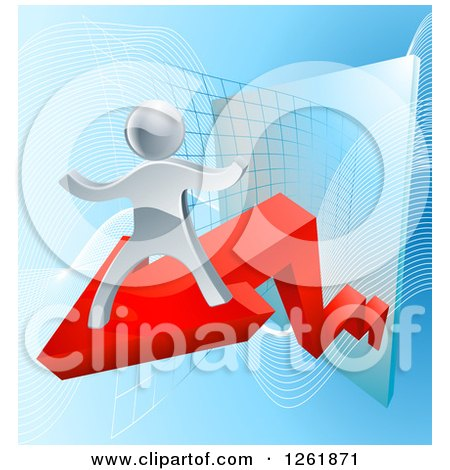 Clipart of a 3d Victorious Silver Businessman Riding a Red Arrow off of a Chart - Royalty Free Vector Illustration by AtStockIllustration