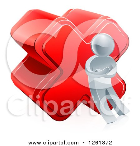 Clipart of a 3d Silver Man Leaning Against a Cross - Royalty Free Vector Illustration by AtStockIllustration