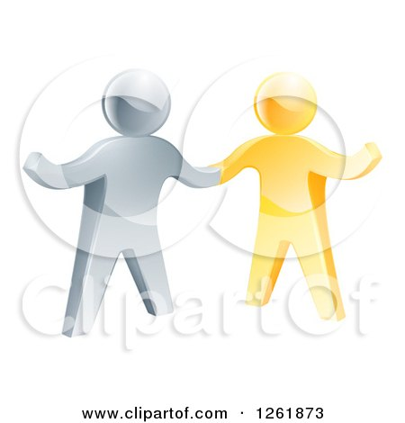 Clipart of a Handshake Between 3d Gold and Silver Men, with One Guy Gesturing - Royalty Free Vector Illustration by AtStockIllustration