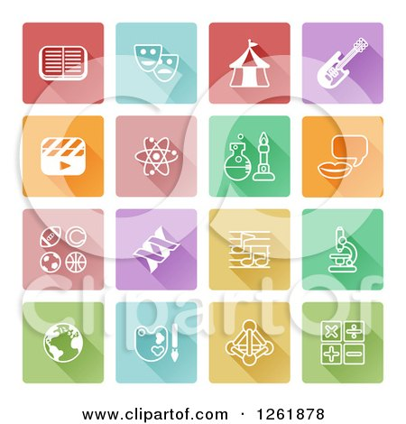 Clipart of Colorful Squares with White Educational Icons - Royalty Free Vector Illustration by AtStockIllustration