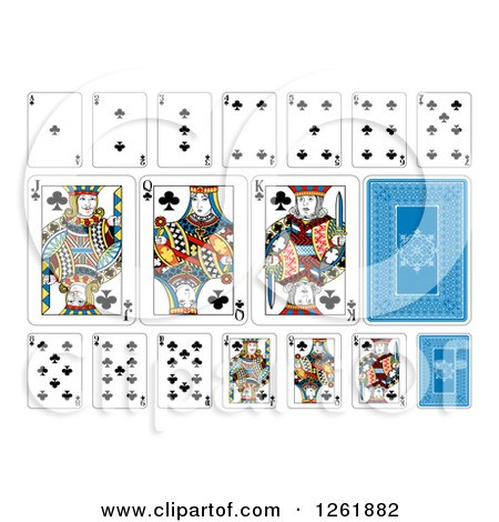 Clipart of Club Suit Playing Cards - Royalty Free Vector Illustration by AtStockIllustration