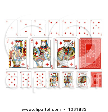 Clipart of Diamonds Suit Playing Cards - Royalty Free Vector Illustration by AtStockIllustration