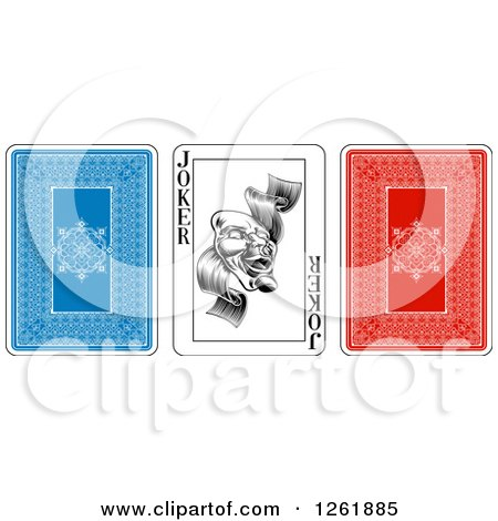 Clipart of Blue Red and Joker Playing Cards - Royalty Free Vector Illustration by AtStockIllustration
