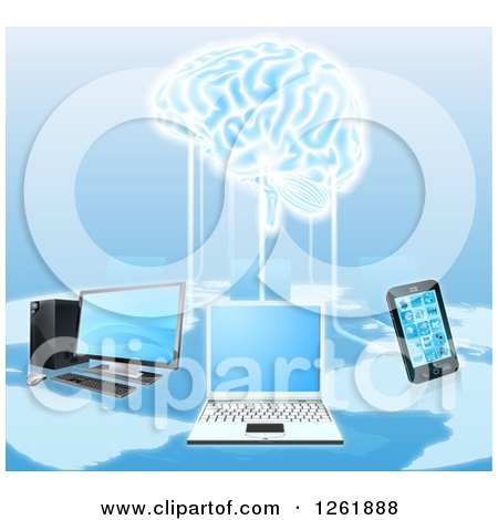 Clipart of a Network of Laptops, Cell Phones, and Computers Connected to a 3d Brain - Royalty Free Vector Illustration by AtStockIllustration
