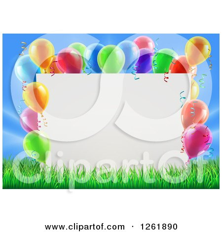 Clipart of a 3d Blank Sign in Grass, Bordered in Colorful Party Balloons - Royalty Free Vector Illustration by AtStockIllustration