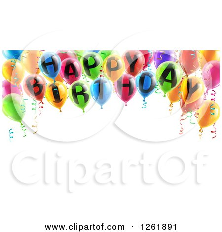 Clipart of a 3d Arch of Colorful Happy Birthday Party Balloons over Text Space - Royalty Free Vector Illustration by AtStockIllustration